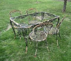 vintage wrought iron garden furniture. Woodard Wrought Iron Patio Furniture Vintage Chantilly Rose Table 4 Chairs Garden R