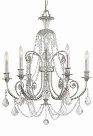 6 lights olde silver crystal chandelier