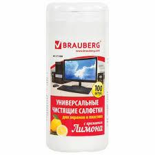 <b>Чистящие</b> салфетки <b>BRAUBERG</b> для экранов и пластика, с ...