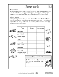 Print and teach your kids science with these free science worksheets. Different Types Of Paper 1st Grade 2nd Grade Kindergarten Science Worksheet Greatschools