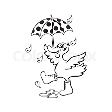 stock vector of coloring book duck with an umbrella hand drawn black