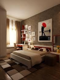 Good Bedroom, Red Brown Floor Carpet Tile Wooden Sleeping Bed Desk Plastic Chair  Blankets Windowing Glass