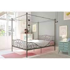 Twin Size Canopy Metal Bed Frame Kids Teens Princess Bedroom Modern ...