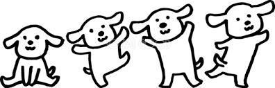 子犬のダンス かわいい白黒の犬イラスト無料82861 素材good