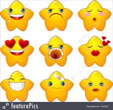 emblems and symbols set of characters of yellow stars with diffe faces eyes