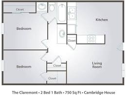 2d the claremont contains 2 bedrooms and 1 bathrooms in 750 square feet of living
