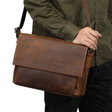 nesitu high quality vintage brown thick real skin genuine crazy horse leather men messenger bags male