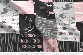 Sugar Pine Design Fabric Spoonflower Fabric Baby Girl Woodland Wholecloth Rotated By Sugarpinedesign Printed On Minky Fabric By The Yard