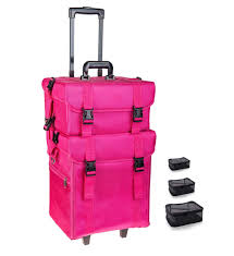 soft makeup artist rolling trolley cosmetic case with free set of mesh bags summer orchid