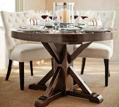 dining round table. benchwright extending pedestal dining table, alfresco brown | pottery barn round table
