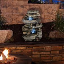 Lighted Water Fountain Outdoor Decor Outdoor Water Fountain With Led Lights Lighted Cascade