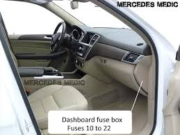 fuse relays m class w166 2012 present mercedes benz ml 250 350 400 interior fuse box dashboard passenger side