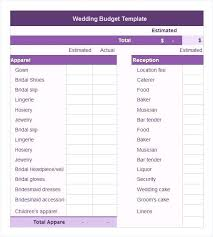 Sample Wedding Budget Spreadsheet Free Wedding Budget Template