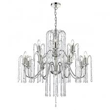 decorative polished nickel and crystal 12 light chandelier