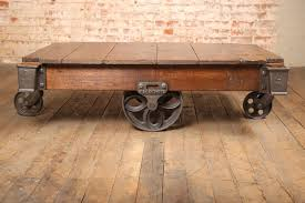 Vintage Industrial Rustic Wood U0026 Cast Iron Factory Coffee Table   Rolling  Cart 2