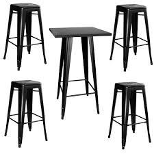5 Piece Bar Table Set Amerihome Loft 5 Piece Black Bar Table Set 801149 The Home Depot
