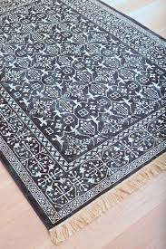 modern navy blue and white persian style fringe rug woodwaves with design 14