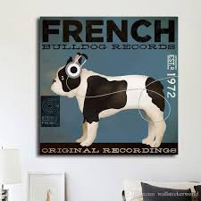 2018 french bulldog hearing animal oil painting poster pictures canvas painting printed on canvas home decor wall art no framed from wallstickerworld