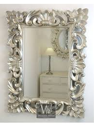 Small Picture Baroque Silver Vintage Rectangle Ornate Wall Mirror 42 x 32 X
