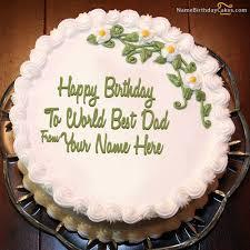 Write Name On Beaututiful Birthday Cake For Father Happy Birthday