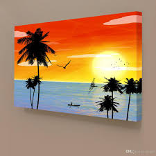 2018 sunset landscape hawaii seascape canvas painting home decor canvas wall art picture digital art print for living room from utoart 11 75 dhgate com