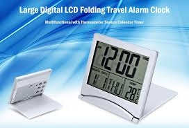 multifunctional large digital lcd folding travel alarm clock with thermometer snooze calendar timer