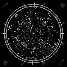 Astrology Map Chart Astrological Celestial Map Of Northern Hemisphere Detailed Outline