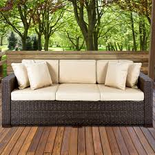 best choice s outdoor wicker patio furniture sofa 3 seater luxury comfort brown wicker couch 0