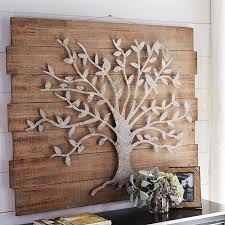 metal tree on wood wall art