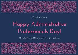 Administative Day Blue And Pink Floral Administrative Professionals Day Card