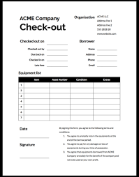 Check Out Sheet Equipment Sign Out Form Template Cheqroom