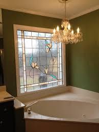 Bathroom:Beauty Floral Glass Window For Master Bathroom Design With Luxury  Chandelier Beautiful Window In