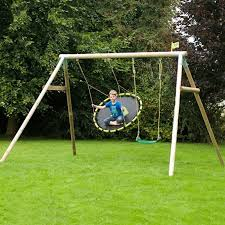 tp knightswood triple wooden swing frame including the nest swing and 1 x deluxe swing seat