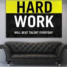office canvas art. Hard Work Yellow \u0026 Black Canvas Motivational Wall Art Office A