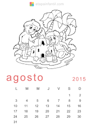 Calendario De 2015 Para Imprimir Y Colorear Etapa Infantil