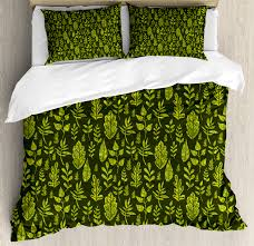 sage duvet cover set patterned green leaves nature inspired composition fresh trees woodland decorative bedding set with pillow shams apple green dark