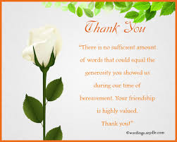 Thank You For Sympathy Card Sample Thank You Note For Funeral Flowers What To Write In A