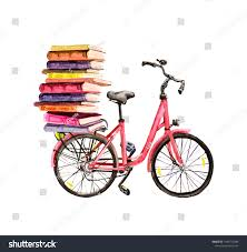 Books On Bicycle Design Bicycle Books Pile Watercolor School Education Stock
