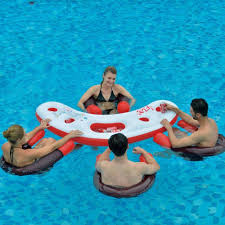 inflatable water bar pool set 4 floating seats chairs party table drinks holders