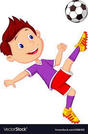 playing cartoon boy cartoon playing football royalty free vector image