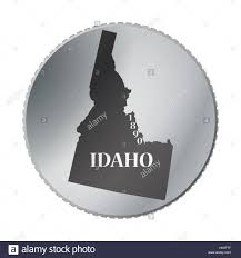 Idaho State Quarter Design An Idaho State Coin Isolated On A White Background Stock