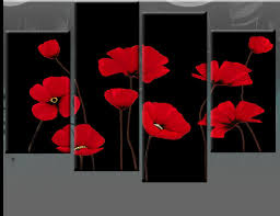 red poppies on black 4 panel canvas wall art picture 40 inch 101cm