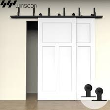 endearing track door hardware 17 winsoon 5 16ft bypass sliding barn double kit modern basic 2016