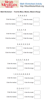 Math Worksheet Activity ( Find the Mean,Median, Mode, Range #1 ...