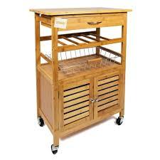woodluv bamboo kitchen storage serving trolley islands cart
