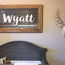 script wood letters applied to corrugated steel craftcuts com script painted wood letters