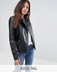 asos tall leather look jacket with zip sleeves p17c2 for women