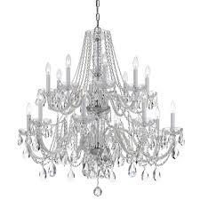crystorama traditional crystal 16 light chrome chandelier