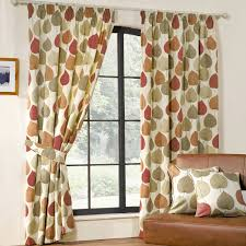 Printed Curtains Living Room Inglewood Modern Leaf Print Curtains Terracotta From Alb20 New