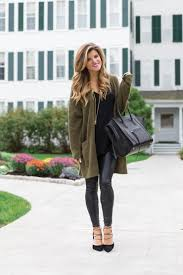 all black outfit idea wearing all black with a long olive cardigan leather